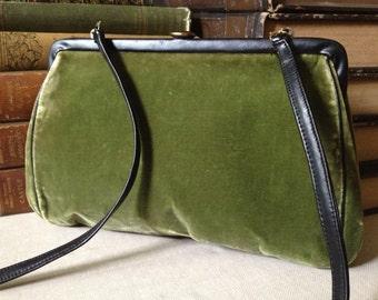 Vintage Moss Green Velveteen Kelly Bag Handbag ~ Mid Century ~ c 1950s