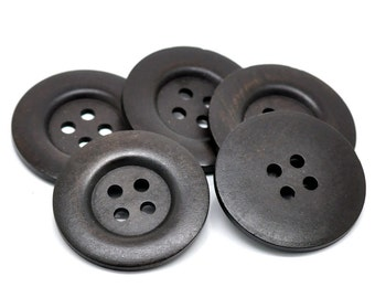6 Large Dark Brown Wooden Button - 35mm - 1 3/8 inch -  4 hole - Wood Buttons (B19494)