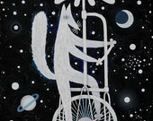 Cat in Cosmos, Small Original Painting, oil on canvas.