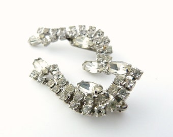 Vintage Rhinestone Earrings - White Long Clip Earrings