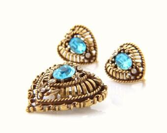 Vintage Coro Brooch and Earrings Set - Heart Brooch Pin Earrings Set - Blue Stone Brooch Earrings