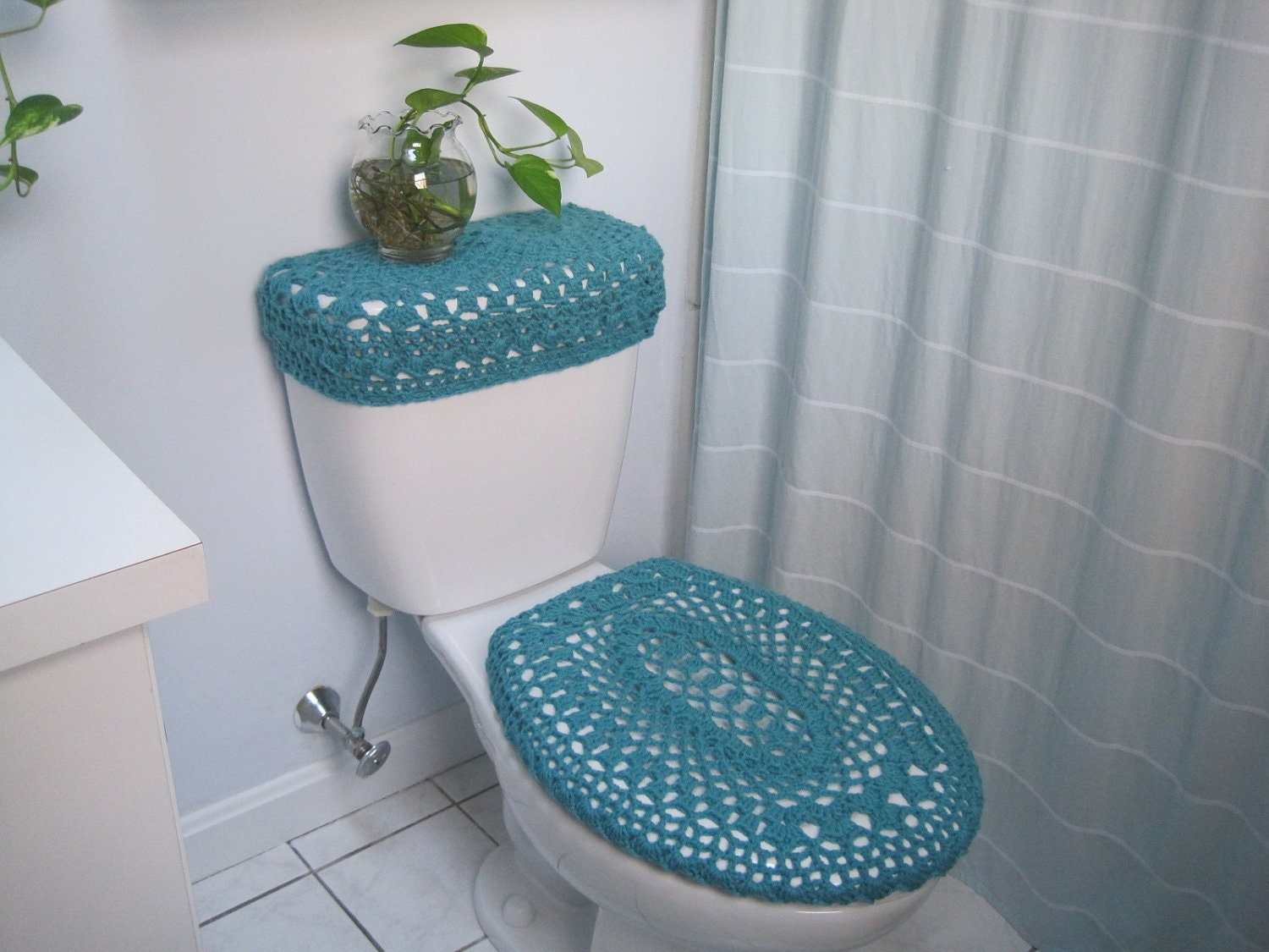 Set Of 2 Crochet Covers For Toilet Seat Toilet Tank Lid By Ytang