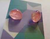 Vintage Glass Pink Marbled Stud Post Earring