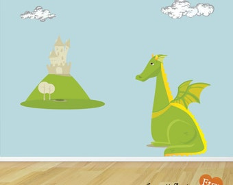 Removable and Repositionable Bedroom Wall Decals, Large Dragon and Castle Fabric Wall Decal Set