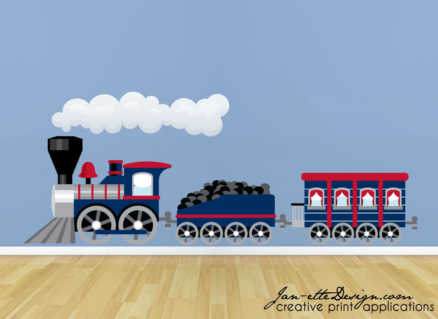 train wall sticker large blue train wall decal train wall