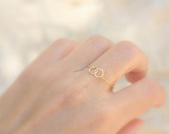 Tiny Ring - 14k gold filled chain with infinity linked circles,sister ring, tiny gold ring,gold filled ring, simple gold ring
