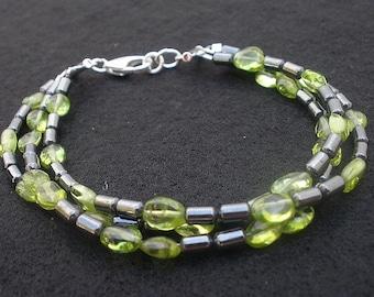 Natural Gemstone Peridot - Hematite - Three Strand - 925 Sterling Silver Bracelet