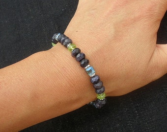Natural Gemstone Faceted Peridot - Faceted Blue Goldstone - Faceted Lead Crystal - 925 Sterling Silver Bracelet