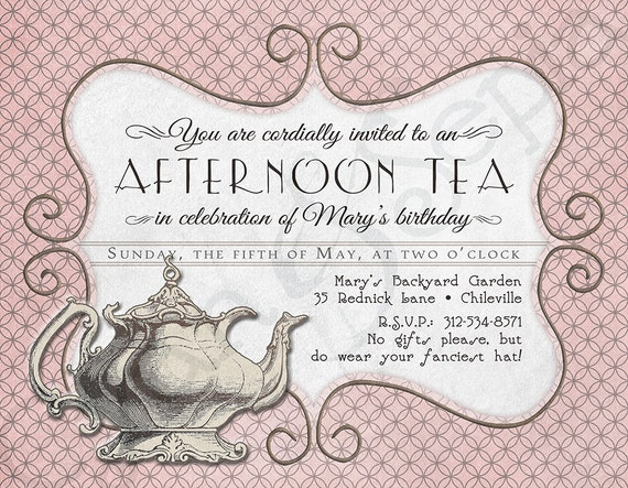 printable tea party birthday invitation x by cyanandsepia. Black Bedroom Furniture Sets. Home Design Ideas
