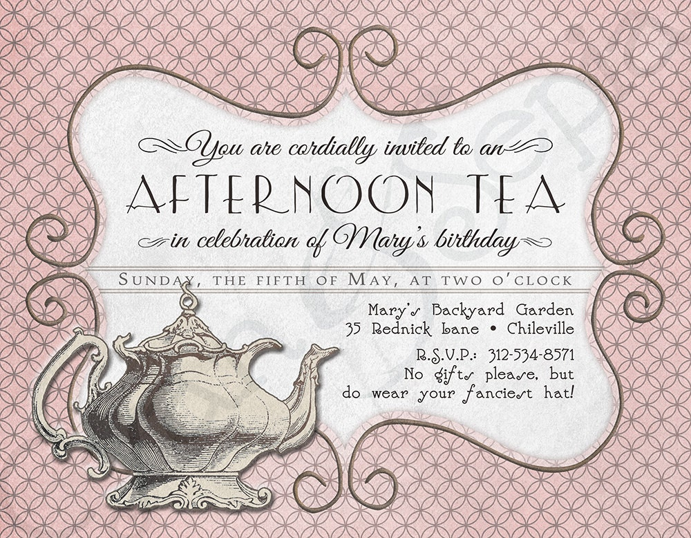 morning tea invitation template free - printable tea party birthday invitation x by cyanandsepia
