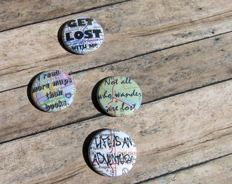 Wanderlust Map Pinback Button Set of 4 Not All Who Wander Are Lost Quote Travel Adventure Brooch