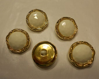 5 gold and cream color acrylic buttons, 22 mm (6)