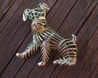 Vintage Dog Brooch, Gold Tone, Green Eyes, Lattice Design, Gerry's