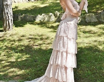 Blush Wedding dress Pink Lace Bohemian Wedding Dress Bridal Wedding Gown - Handmade by SuzannaM Designs