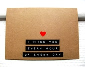 I MISS YOU Card - Red Heart - Dymo Labels - Kraft Card - Long Distance Relationship Card