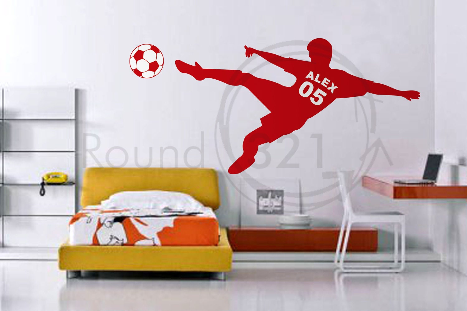 Soccer wall decal with personalized name number and by - Colores para pintar dormitorios juveniles ...