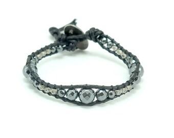Hematite,silver beads wrapped charm bracelet.