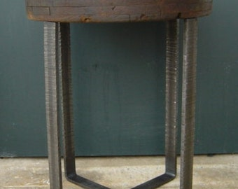 Factory Cart Wheel End Table