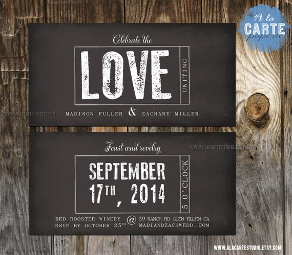 Stamp Wedding Invitation - Modern Urban Rustic Vintage Wedding ...
