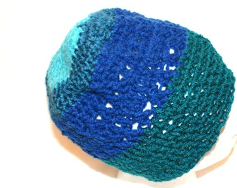 Blue Slouch Hat, Slouchy Cap, Dread Cap, Mens Winter Hat, Men's Skull Cap, Blue Crochet Cap, Crochet Slouch Hat, Grunge Hat, Dread Hat