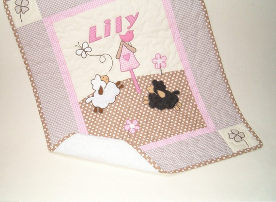 Knitting Patterns For Baby Blankets With Sheep : Sheep Baby Blanket Crib Quilt Blanket Lambie Nursery