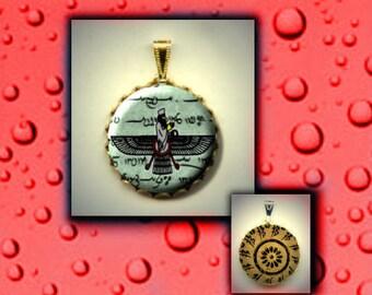 ZOROASTRIAN Faravahar Human Spirit symbol Hand Pressed CABOCHON in Brass Charm Pendant