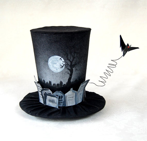 Tiny Top Hat: The Graveyard - Lolita Cosplay Costume Party Fascinator Photo Photography Prop Wedding Tophat Small Mini Miniature