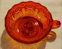 Vintage Amberina Candle Holder Pressed Glass  with Wax Catcher L.E. Smith Quintec