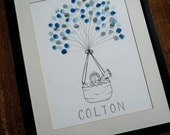 Baby Boy Baby Shower Thumbprint Guest Book- Great gift for Mom-to-Be