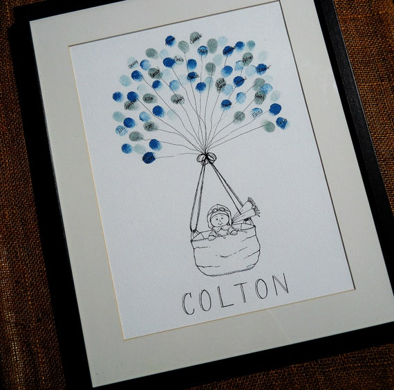 Baby Showers Gifts For Guests: Baby Boy Baby Shower Thumbprint Guest Book Great Gift For