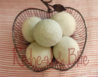 Organic White Dandelion Puff Wool Dryer Balls Extra Large Uncented or Scented w/ Essential Oils for Free (30+ Scent Choices) Single or Sets