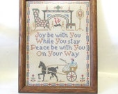Vintage Cross stitch framed horse and carriage cozy fireplace wall hanging V