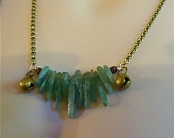 Necklace Tribal Inspired Green Kyanite and Tiny Vintage Bell