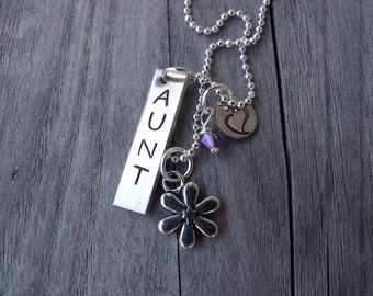 Personalized Handstamped Aunt Necklace