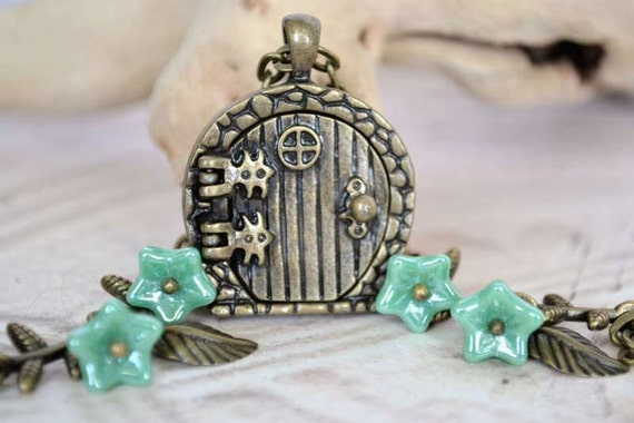 Fairy Door Wish Locket, Hobbit Door Necklace, Twining Bronze Leaves and Sea Green Glass Flowers Necklace