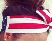 American Flag Dolly Bow Wire Headband