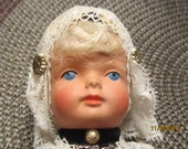 Vintage 70's Dovina Doll with Traditional Dress Rotterdam Holland 9 Inches Celluloid Doll