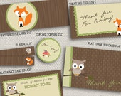Woodland Animals Baby Shower Pieces - Banner, Cupcake Toppers, Thank You Card and more