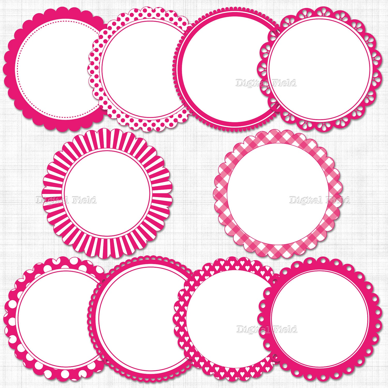 Hot Pink Scalloped Circle Frames Labels Clip Art Set