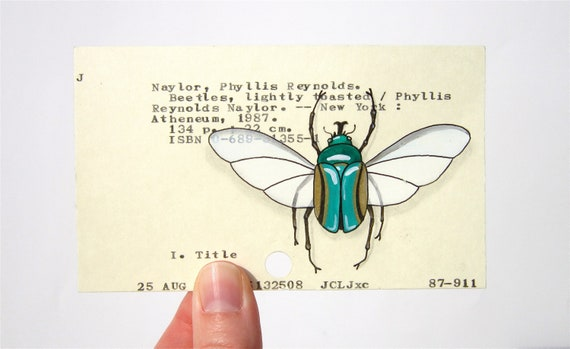 Beetle painted on Library Card Catalog Card hand-painted original insect art Dewey Decimal