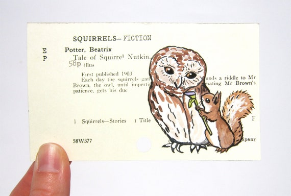 Beatrix Potter Squirrel Nutkin - Print of painting of Squirrel Nutkin and owl on library card catalog card for The Tale of Squirrel Nutkin