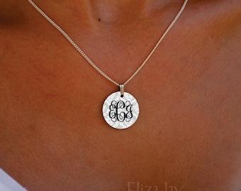 enameled damask vine monogram necklace