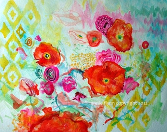 "Archival Print of Original Watercolor Painting ""Ikat Poppies"""