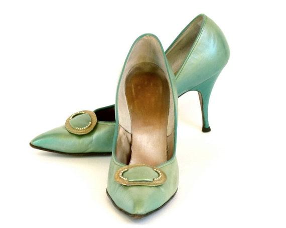 Vintage 60s Pointy Stilettos  -- Sage Green Leather Heels w/ Rhinestone & Gold Buckle  --  6 -7