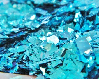 1 oz Solvent Resistant Glitter Turquoise Random Cut Large Confetti Glitter  Flake Glitter for Nail Polish Nail Art Crafts