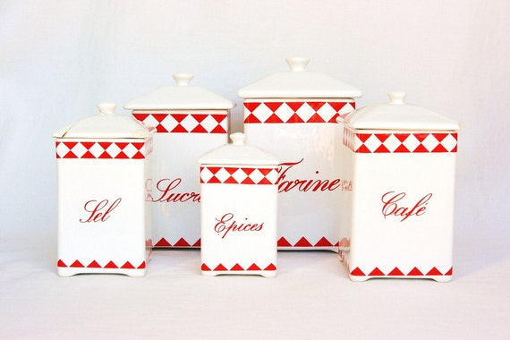 French Canisters Red Kitchen Canisters Red Canisters French Kitchen Decor French Country