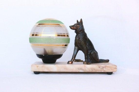 Mid century modern spelter dog lamp, Art Deco lamp, French lighting, German Shepherd light, dog decor, baby boy nursery decor, office decor