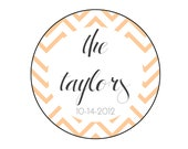 Custom Wedding Favor Labels - Set of 160 modern personalized stickers for wedding favors