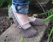 Ladies Crochet Slippers- Organic cotton, cute as a button, Mary Jane, Happy House Shoes
