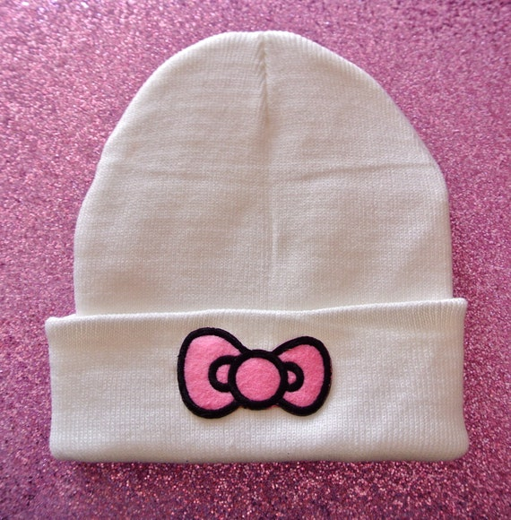Pink Bow Hipster Hand Patched Beanie